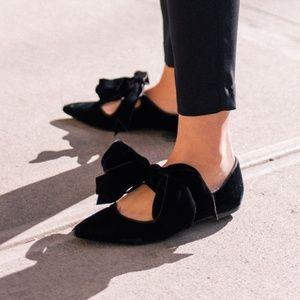 Tory Burch Clara Black Velvet Bow Flats